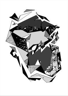 Francois Pretorius - Cityscape (2014) #art #illustration #b&w #design #africa #fineart #city #face