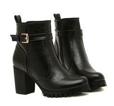 """Stylish Women's Short Boots With Buckle and PU Leather Design Color: BLACK, WHITE Size: 38, 39, 35, 36, 37 Category: Shoes > Women's Shoes > Womens Boots   Gender: Women  Boot Type: Fashion Boots  Boot Height: Ankle  Toe Shape: Round Toe  Heel Type: Chunky Heel  Heel Height Range: High(3-3.99"""")  Closure Type: Zip  Shoe Width: Medium(B/M)  Pattern Type: Solid  Embellishment: Buckle  Upper Material: PU  #bestdealonwomensboots #bestboots #dealonboots #womensboots #bridgat.com"""
