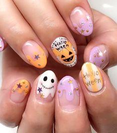 Holloween Nails, Halloween Acrylic Nails, Cute Halloween Nails, Halloween Nail Designs, Summer Acrylic Nails, Cute Acrylic Nails, Cute Nails, Pretty Nails, Kawaii Halloween