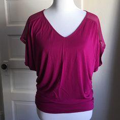 Magenta/Hot Pink Express Top Sheer shoulders, gathered bottom. No trades. Express Tops Blouses