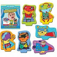 6 puppets to put on a superhero play. Puppets fit in holes in base of theater so more than two pieces can be used at any time.     Puppets can be used on their own or with the Puppet Theater (sold separately). Great for bath time, playtime or anytime play and learning! Ages: 3 and up