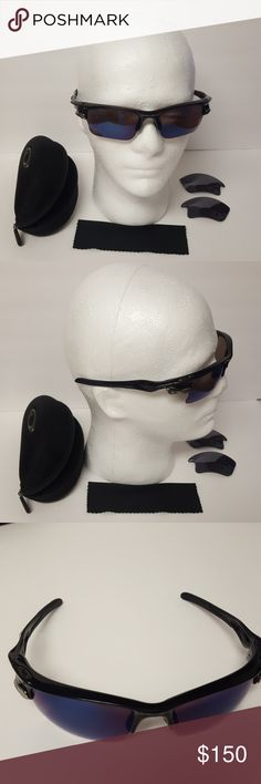 Used Oakley Polarized fast jacket sunglasses Polarized, in excellent condition , with case and  lenses replacement ( this replacement were pre_owned and  have some signs of use and are not polarized).color lenses:Ice Iridium Oakley Accessories Sunglasses