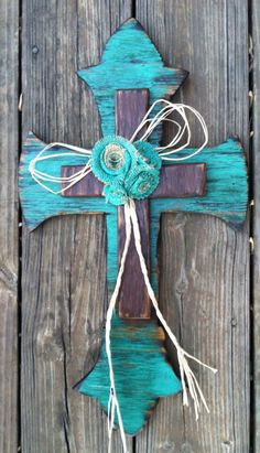 Shabby Chic Wooden Cross with Burlap Rosettes FREE by AuChantae, $45.00