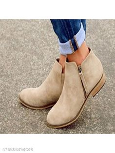 870044e7f5aa2 Plain Flat Velvet Round Toe Outdoor Ankle Boots - berrylook.com How To Wear  Ankle