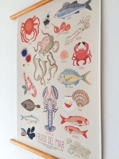 vintage poster educativo frutos del mar - impresión sobre lienzo algodón - 50x70cm