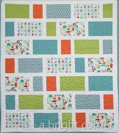 zoo dwellers quilt (a bright corner blog)--she did this pattern multiple times with various fabric collections