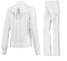 Adidas Originals Firebird Track Suit Women's Jacket Top & Pants WHITE (SILVER)