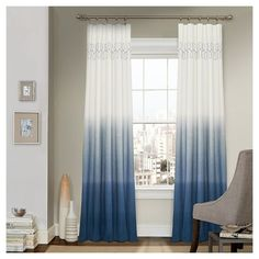 Frame your window in elegant style with the Vue Signature Arashi Fashion Window Drapery Panel . This curtain features a chic ombre style with relaxed. Window Drapes, Drapes Curtains, Ombre Curtains, Window Coverings, Window Panels, Blue Curtains Living Room, Pattern Curtains, Coastal Curtains, Country Curtains