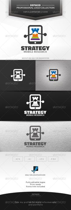 Strategy Logo #GraphicRiver Logo of a chess figure in a mobile (with stats elements). Can be used for many kind of project. Full vectors, this logo can be easily resize and colors can be changed to fit your project. Flat versions for print also included. The font used is in a download file in the package. Font : .fontsquirrel /fonts/Titillium Files provided : .ai (CC and CS), .eps, .jpg, .png (transparent) Created: 11 December 13 Graphics Files Included: Transparent PNG #JPG Image #Vector…