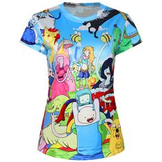 Blue Ladies Crew Neck Cartoon Adventure Time Printed T-shirt ($11) ❤ liked on Polyvore featuring tops, t-shirts, shirts, blue, comic t shirts, crew shirt, cartoon character t shirts, comic shirts and crew neck tee