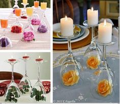 Simple wedding decor (maybe for the buffet and dessert tables) Wine Glass Centerpieces, Diy Centerpieces, Quinceanera Centerpieces, Inexpensive Centerpieces, Christmas Centerpieces, Wine Glass Candle Holder, Candle Holders, Candle Stands, Glass Votive