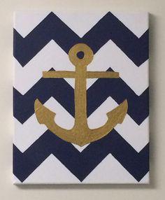 Chevron navy and gold anchor canvas