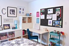 Teen, teen girl decorating. Ikea Kallax, desk, trofast cart and corkboard for organizing. Kylie M Interiors Decorating and Consulting