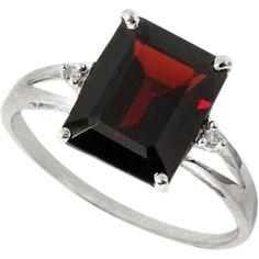 Natural~10k white gold/4.17 carat Garnet/Genuine Diamond Ring~$153.00