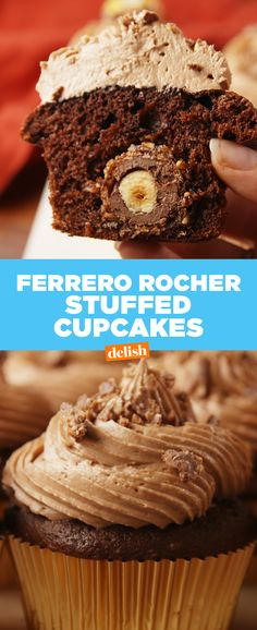 Ferrero Rocher Stuffed Cupcakes prove it's what's on the inside that counts. Get the recipe at Delish.com.