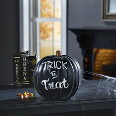 Cover a pumpkin with chalkboard paint, and you can use a chalkboard marker to change the message as many times as you want leading up to October 31. Get the tutorial at Michaels.   - WomansDay.com