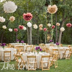 Paper Tissue Pom poms decor for Outdoor Reception - but stick with theme color please :) Also, if there are trees around reception area we can put lights around the trunks & branches?