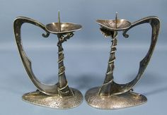 Orno Warshaw Mid Century Modernist Natural Silver Candlestick Candle Holder Pair | eBay