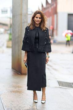 Christine Centenera chic in an embellished cape  - Austrailian Fashion Week Fall 2014 #StreetStyle