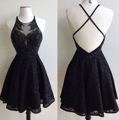 Black Lace Prom Dress, Short Special Occasion Dresses,