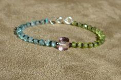 Aquamarine Bracelet, Peridot Bracelet, Gemstone Bracelet, Dainty Bracelet, Modern Bracelet, Contemporary, Colorful by ThreeMagicGenies on Etsy