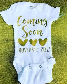 Coming Soon- Baby Announcement- Baby Shower Gift- New Mom- New Baby babysuit- bodysuit- Gifts for baby shower- Pregnancy Announcement by giggletee on Etsy