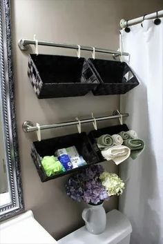 hanging shelves from basket. Cute! Seems easy and inexpensive.