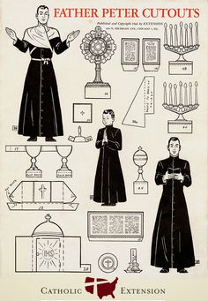 The blog of Catholic Extension magazine has posted links to a whole series of reproductionsof pages from an edition of the magazine printed in 1943. Each of them contains a series of paper-dolls, including a priest, an altar boy, and everything necessary for Mass and Benediction; there is even an a