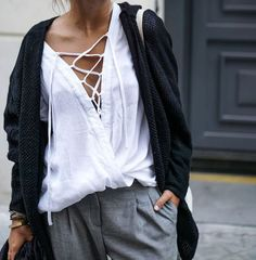 Lace up white top. Layered. Street style | harperandharley