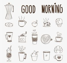 Doodles to brighten up your morning! Plus more easy-to-copy doodles for your bullet journal! Bullet Journal Inspo, Bullet Journal Ideas Pages, Doodle Drawings, Doodle Art, Easy Drawings, Doodle Frames, Coffee Doodle, Bujo Doodles, Planner Doodles