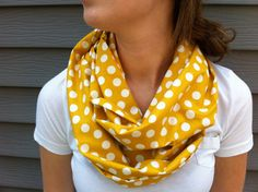 Its BACK!!! Mustard Yellow Polkadot Infinity Scarf by oneforonecreations, $20.00