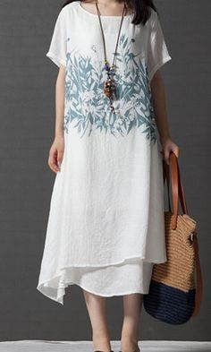 Women loose plus size flax linen dress flower maxi ethic casual short sleeve #Unbranded #dress #Casual