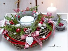 Advent wreath Herzl natural wreath of twigs arranged with deco-conifers, red … - Xmas - Christmas Noel Christmas, Christmas Candles, Simple Christmas, Christmas Wreaths, Christmas Crafts, Handmade Christmas, Easy Christmas Decorations, Christmas Centerpieces, Holiday Decor