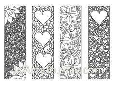 Zendoodle Bookmarks DIY, Zentangle Inspired Hearts and Flowers, Printable Coloring, Valentine's Day Digital Download, Sheet 8