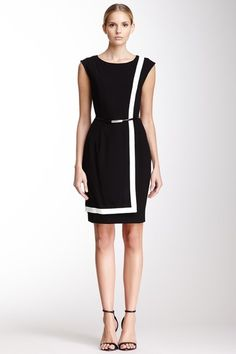 Sleeveless Contrast Trim Dress by Calvin Klein on Dress Up Outfits, Cool Outfits, Fashion Outfits, Work Attire, Office Attire, Classic Wardrobe, Casual Chic Style, Women Wear, Ladies Wear