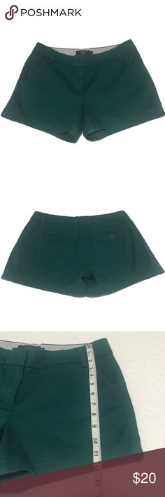 J. Crew Hunter / Dark Green Preppy Chino Shorts These preppy shorts are the Chino style from J. Crew. They have front and back pockets (note, one of the back pockets is still stitched shut and you will need to gently open it with some small scissors if desired), a zip fly with hook closure, and belt loops. These shorts are 100% cotton and perfect to stay cool. The dark hunter green color makes them classically stylish. Photos 6 & 7 are vendor photos in blue to show fit. Listing is for green…