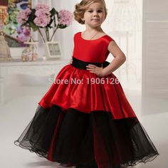 Red Pageant Ball Gowns For Girls Kids Evening Gowns Prom-Dress-Children Communion Gown Baby Party Frocks 2016 Infantis(China (Mainland))