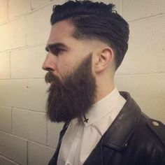 full thick dark beard and mustache undercut hair leather jacket beards bearded man men mens' style handsome