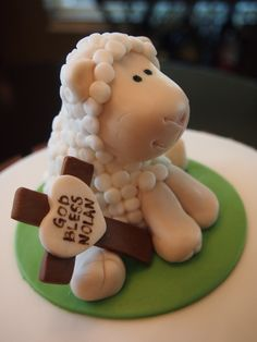 Fondant Lamb Baptism Cake Topper by Olive Parties