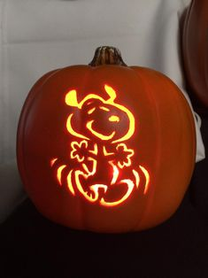 Orange Foam Pumpkin That has snoopy carved out. It comes with a corded light Halloween Pumpkin Carving Stencils, Amazing Pumpkin Carving, Pumpkin Carving Templates, Halloween Pumpkins, Snoopy Halloween, Halloween Jack, Halloween Decorations, Pumpkin Art, Pumpkin Crafts