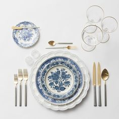 RENT: Signature Collection Chargers + Blue Garden Collection Vintage China + Axel Flatware in Matte 24k Gold/Silver + Chloe 24k Gold Rimmed Stemware + Antique Crystal Salt Cellars   SHOP: Chloe 24k Gold Rimmed Stemware