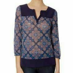 ☆BRAND NEW☆The Limited Blouse Very pretty printed blouse in navy blue and white. 3/4 sleeves. Sheer.  Price is firm. The Limited Tops Blouses