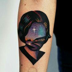 By David Cote | #Tattoo #ArmTattoo #Woman #Star #Landscape