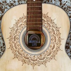 Amandala Life Upcycled guitar A unique and one off wood burned pyrography mandala design on a vintage guitar. Commissions welcome! Contact for purchase enquiries.