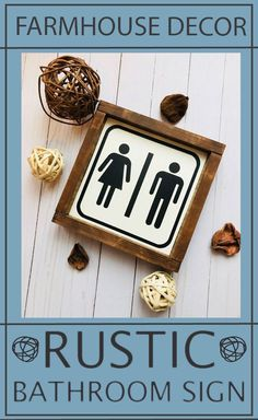 This is a super cute farmhouse style men and women's washroom sign. Perfect home decor for any stylish bathroom door. Washroom sign. #farmhousestyle #farmhouse #bathroom #affiliate
