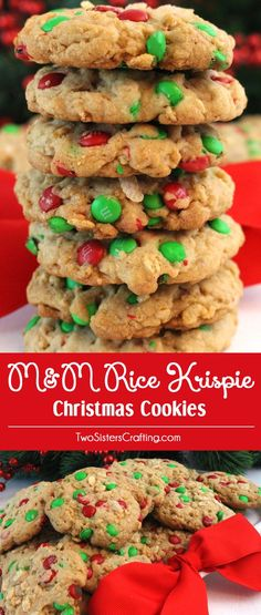 M&M Rice Krispie Christmas Cookies - the crunch from the M&M's and the Rice Krispie Cereal in combination with the soft buttery cookie makes for delicious must bake Christmas Treats. Try this colorful and festive Christmas Dessert - your friends and family will love them. And follow us for more great Christmas Food ideas.