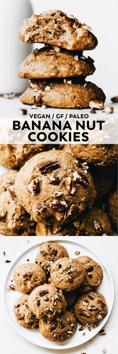 These super simple Banana Nut Cookies are soft, cinnamon-spiced, and flecked with toasted pecans for an easy snack, yummy breakfast, or healthy dessert! #vegan #glutenfree #veganrecipe #paleo