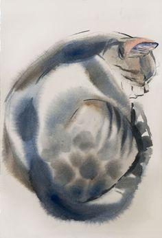 Fat&Fluffy watercolor on paper 19*28 sm by Olga Flerova