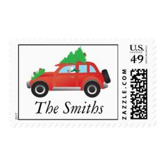 Wire Fox Terrier Driving a Christmas Car Postage