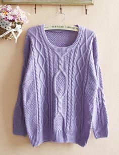 Purple Loose Hemp Flowers Retro Sweater